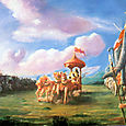 KRSNA AND ARJUNA IN THE MIDST OF TWO ARMIES