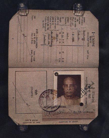 SRILA PRABHUPADA'S PASSPORT.