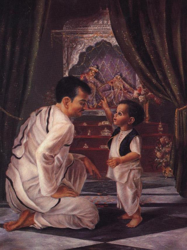 GOUR MOHAN DE TEACHES HIS SON ABHAY TO WORSHIP THE SUPREME LORD.