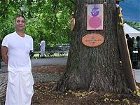 RALPH UNDER THE PRABHUPADA TREE, TOMPKINS SQUARE PARK, NYC
