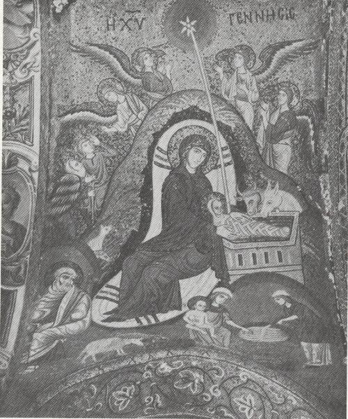 THE BIRTH OF JESUS,12TH CENTURY MOSAIC