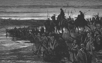 THE CHILDREN OF ISREAL CROSSING THE JORDAN