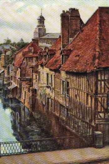 TIMBERED HOUSES ALONG THE RIVER SEINE