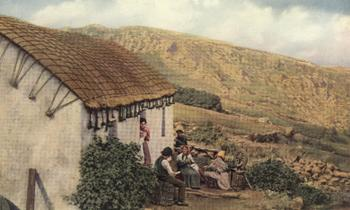 THATCHED ROOFS OF THE COTTAGES OF DONEGAL.